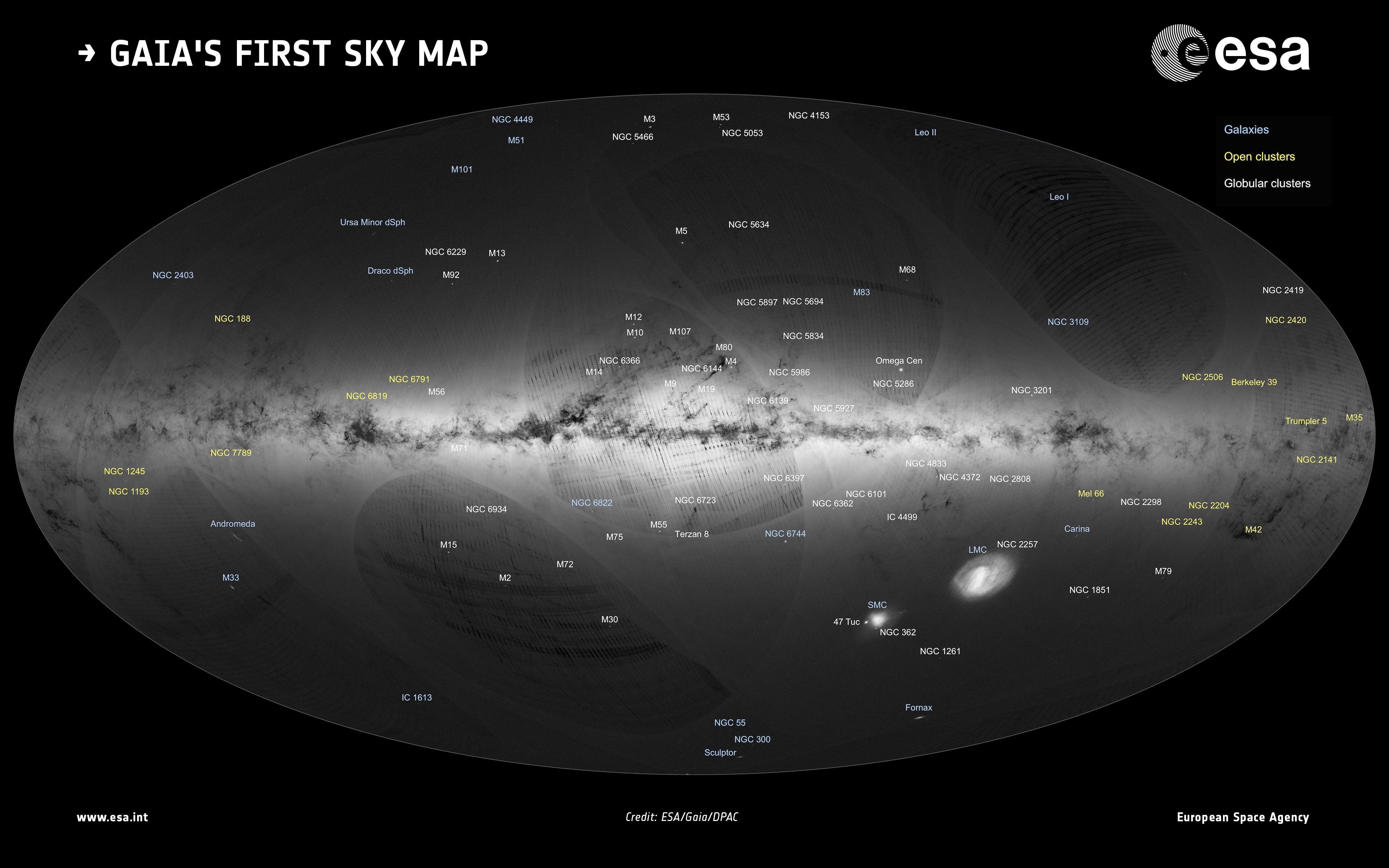 gaiaによる天の川銀河の謎を解き明かすための最初の天球地図が公開された